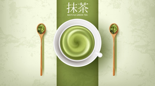 Close up a cup of matcha green tea late art hot drink.  illustration