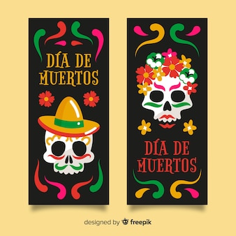 Close-up día de muertos skull banners