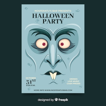 Close-up dracula face halloween party flyer template