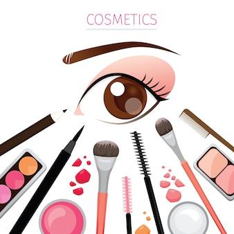 Close up eye with cosmetics set