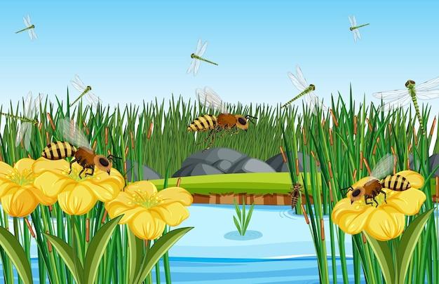 Primo piano scena di fiori e foglie con molte api e libellule