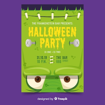 Close-up frankenstein face halloween party poster template