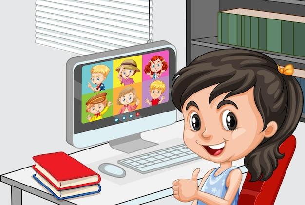 クローズアップの女の子が自宅のシーンで友達とビデオ会議を通信します