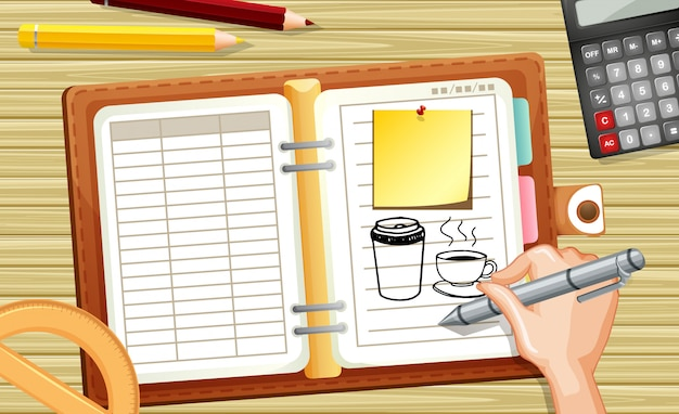 Close up hand drawing coffee cup on notebook with calculator on desk background