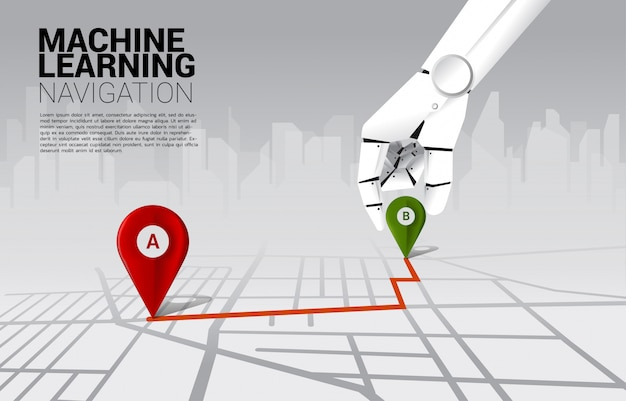 Close up hand of robot place location pin marker on direction route on road map. concept of a.i. learning machine and navigation system.