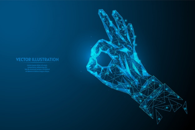 クローズアップの手はジェスチャーを[ok]を示し、ジェスチャーは良いです。コミュニケーション、ビジネス、教育の概念。革新的なデザイン。