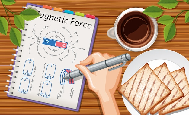 Close up hand writing magnetic force on notebook with snack and coffee on desk background