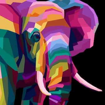 頭の象のポップアートの肖像画を閉じる