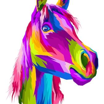 Крупный план лошадь поп арт портретный стиль