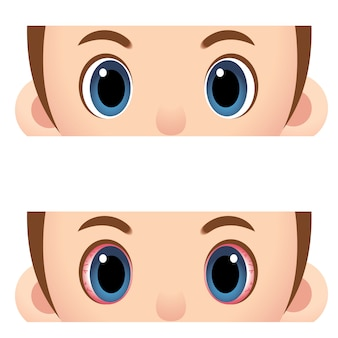 Close up human eyes cartoon style
