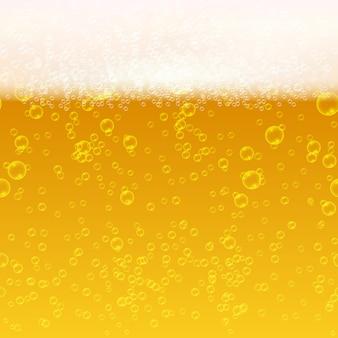 ライトビールを閉じて泡と泡ベクトルシームレスな背景。新鮮な飲み物のビールのイラスト