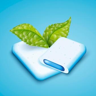 민트 껌을 가까이서보고 민트 잎으로 호흡 제품을 상쾌하게하십시오.