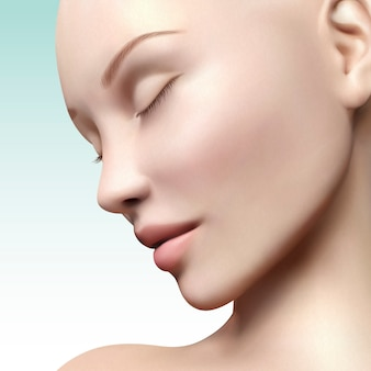 Close up look of model face illustration