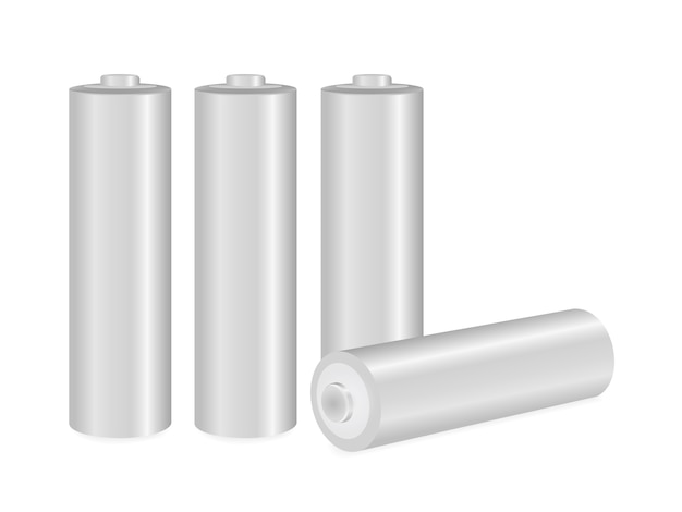 Close up  metallic aa batteries over white background