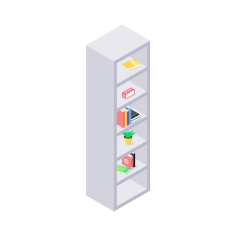 Close up on modern shelves with books isometric illustration