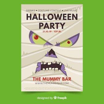 Close-up mummy face halloween party flyer template