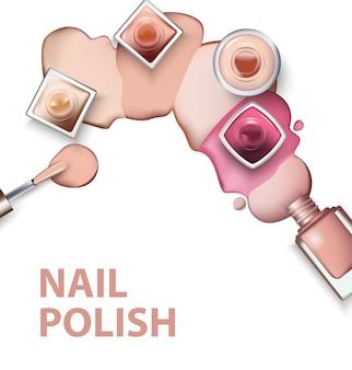 Закройте лак для ногтей с каплями лака для ногтей светлых пастельных оттенков на белом фоне. идеально подходит для рекламных баннеров, буклетов, журналов. векторный шаблон