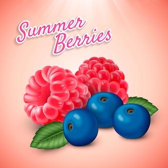 夏の果実のイラストのクローズアップ