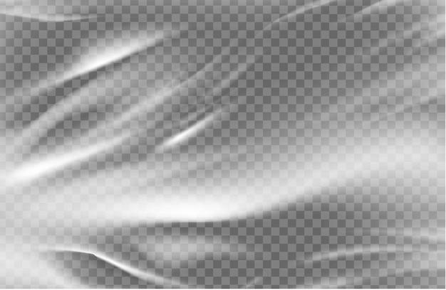 白い背景にプラスチックの透明なセロハン バッグをクローズ アップ。テクスチャは空白で光沢があります。