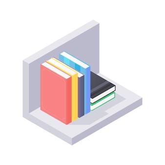 책 아이소 메트릭 일러스트와 함께 현대 선반에 가까이