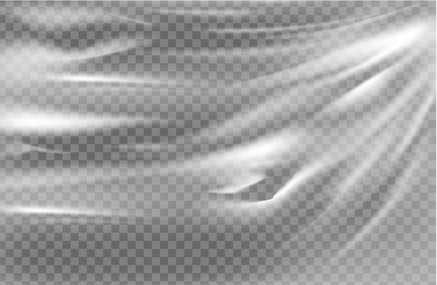 Close up on a plastic transparent cellophane bag on white background. the texture looks blank and shiny.