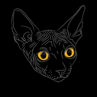 Close-up portrait, sketch a cat breed sphynx on a black background with bright yellow eyes. the sphynx is a rare breed of cat known for its lack of a coat.