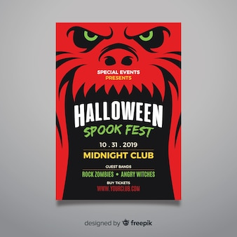 Close-up red monster face halloween party flyer