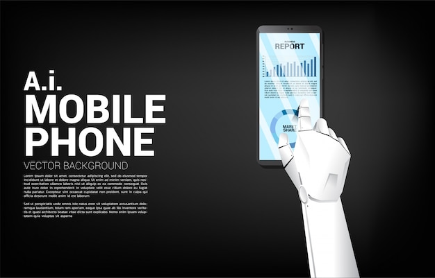 Close up robot hand touch business graph report in mobile phone. concept for machine learning growth and trend report