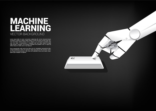 Close up robot hand touch a.i. key board computer