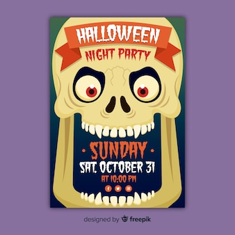 Close-up scary skull halloween party poster