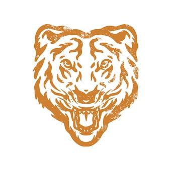 デザイン、ロゴアイコンを印刷するのに最適な虎の顔のスケッチをクローズアップ