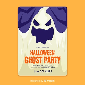 Close-up spooky ghosts flat halloween poster