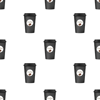 茶色のキャップパターンでテイクアウトコーヒーを閉じます。白い背景で隔離。ベクトルイラスト。