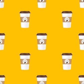 茶色のキャップパターンでテイクアウトコーヒーを閉じます。黄色の背景に分離。ベクトルイラスト。