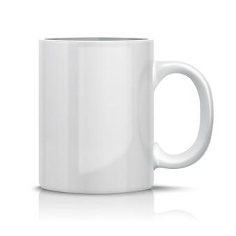 Закройте вверх вектор классической белой чашки для. изолированные на белом.