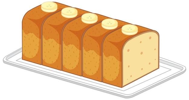 흰색 배경에 격리된 바나나 토핑이 있는 흰 빵의 보기를 닫습니다.