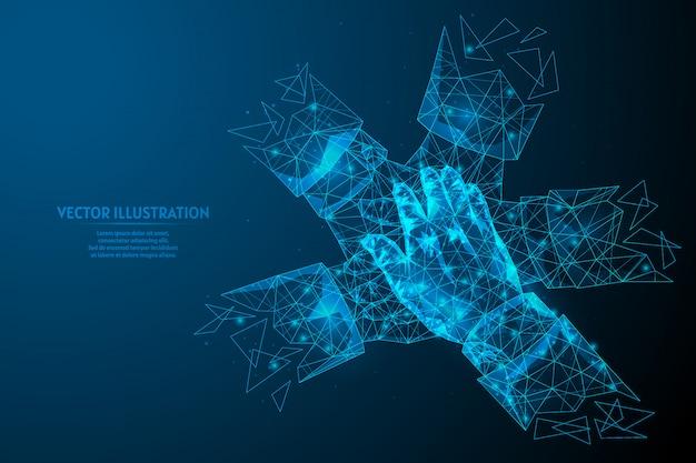 Взгляд конца-вверх на молодых бизнесменах кладя руки совместно. концепция совместной работы, единства, поддержки. инновационная медицина и технологии. низкая поли каркасная иллюстрация модели.