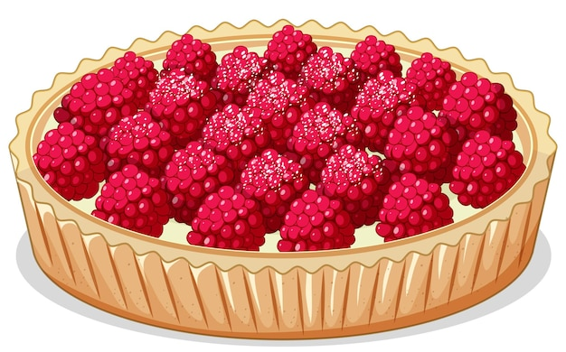 Close up view of rasberry pie isolated on white background