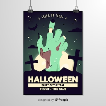 Close-up zombie rotten hand halloween flyer template