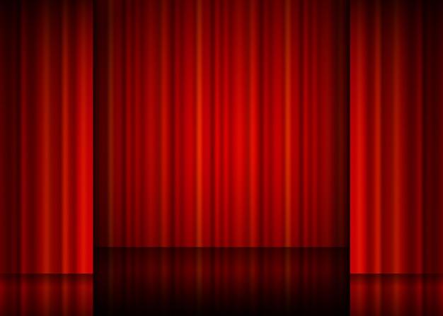 赤いカーテンの表示を閉じます。