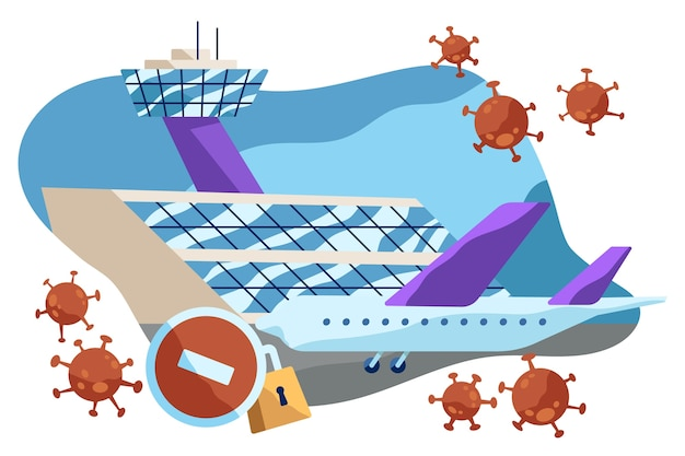 Closed airport because of pandemic virus