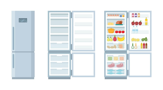 빈 냉장고를 닫고 엽니다. 음식, 벡터 일러스트 레이 션의 전체 냉장고와 냉동고