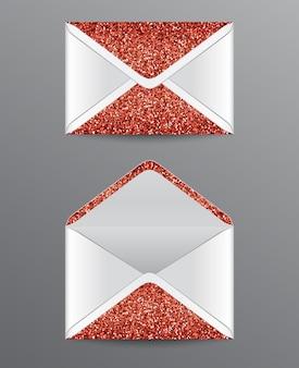 赤いきらびやかな要素を持つ閉じた封筒と開いた封筒。