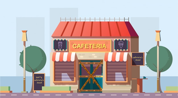 Closed because of bankruptcy cafe cartoon vector