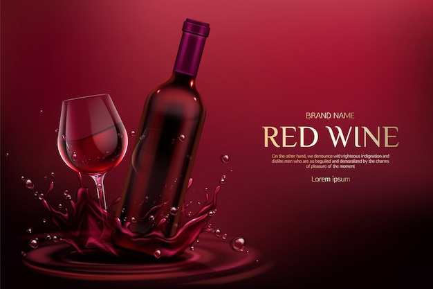 空のフラスコとワイングラスを閉じ、バーガンディの液体のしぶきと水滴にアルコールのつるを飲む