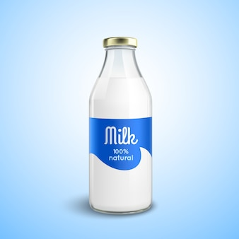 Closed bottle of milk