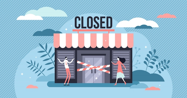 Closed business concept, flat tiny persons