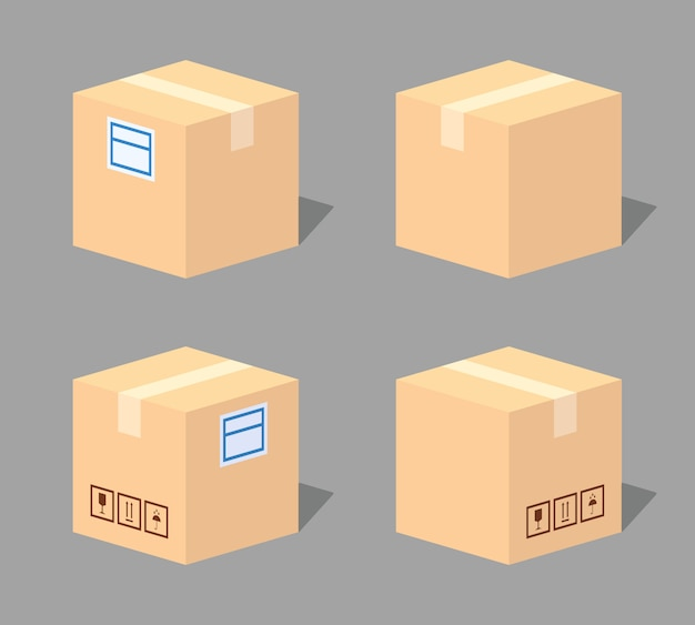 Closed cardboard box. 3d lowpoly isometric vector illustration.