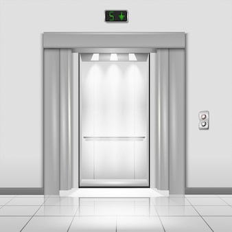 Closed chrome metal office building elevator doors with rays of light in the cab