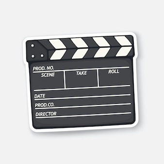 Closed clapperboard used in cinema when shooting a film movie industry vector illustration